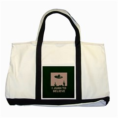 I Juan To Believe Ugly Holiday Christmas Green background Two Tone Tote Bag