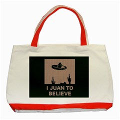 I Juan To Believe Ugly Holiday Christmas Green background Classic Tote Bag (Red)
