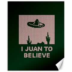 I Juan To Believe Ugly Holiday Christmas Green background Canvas 16  x 20