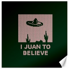 I Juan To Believe Ugly Holiday Christmas Green background Canvas 20  x 20