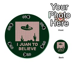 I Juan To Believe Ugly Holiday Christmas Green background Playing Cards 54 (Round)