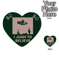 I Juan To Believe Ugly Holiday Christmas Green background Playing Cards 54 (Heart)