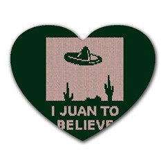 I Juan To Believe Ugly Holiday Christmas Green background Heart Mousepads