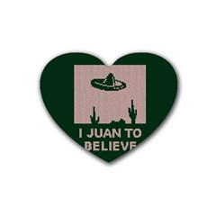 I Juan To Believe Ugly Holiday Christmas Green background Heart Coaster (4 pack)