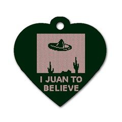 I Juan To Believe Ugly Holiday Christmas Green background Dog Tag Heart (Two Sides)