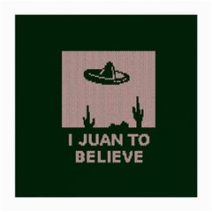 I Juan To Believe Ugly Holiday Christmas Green background Medium Glasses Cloth