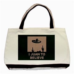 I Juan To Believe Ugly Holiday Christmas Green background Basic Tote Bag (Two Sides)