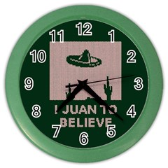 I Juan To Believe Ugly Holiday Christmas Green background Color Wall Clocks