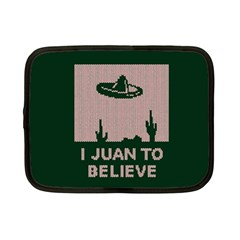 I Juan To Believe Ugly Holiday Christmas Green background Netbook Case (Small)