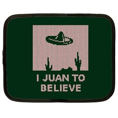 I Juan To Believe Ugly Holiday Christmas Green background Netbook Case (Large)