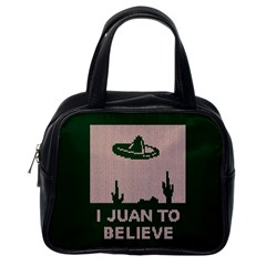 I Juan To Believe Ugly Holiday Christmas Green background Classic Handbags (One Side)