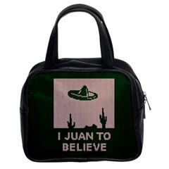 I Juan To Believe Ugly Holiday Christmas Green background Classic Handbags (2 Sides)