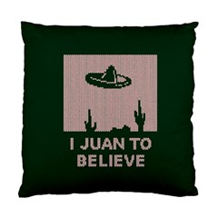I Juan To Believe Ugly Holiday Christmas Green background Standard Cushion Case (Two Sides)