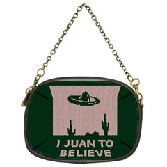 I Juan To Believe Ugly Holiday Christmas Green background Chain Purses (Two Sides)