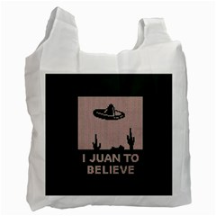 I Juan To Believe Ugly Holiday Christmas Green background Recycle Bag (Two Side)