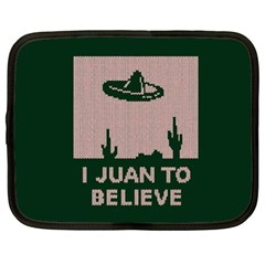 I Juan To Believe Ugly Holiday Christmas Green background Netbook Case (XL)