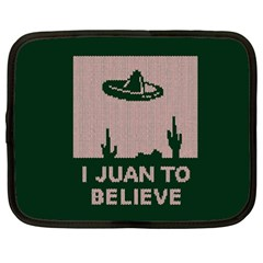 I Juan To Believe Ugly Holiday Christmas Green background Netbook Case (XXL)