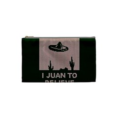 I Juan To Believe Ugly Holiday Christmas Green background Cosmetic Bag (Small)