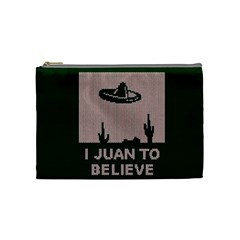 I Juan To Believe Ugly Holiday Christmas Green background Cosmetic Bag (Medium)