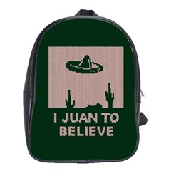 I Juan To Believe Ugly Holiday Christmas Green background School Bags(Large)