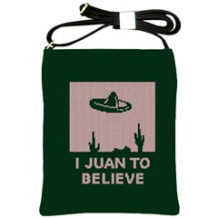 I Juan To Believe Ugly Holiday Christmas Green background Shoulder Sling Bags