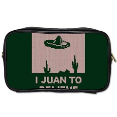 I Juan To Believe Ugly Holiday Christmas Green background Toiletries Bags