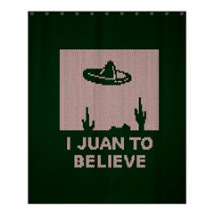 I Juan To Believe Ugly Holiday Christmas Green background Shower Curtain 60  x 72  (Medium)