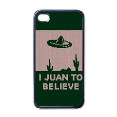 I Juan To Believe Ugly Holiday Christmas Green background Apple iPhone 4 Case (Black)