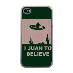 I Juan To Believe Ugly Holiday Christmas Green background Apple iPhone 4 Case (Clear)