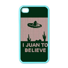 I Juan To Believe Ugly Holiday Christmas Green background Apple iPhone 4 Case (Color)