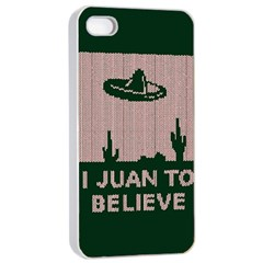 I Juan To Believe Ugly Holiday Christmas Green background Apple iPhone 4/4s Seamless Case (White)