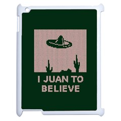 I Juan To Believe Ugly Holiday Christmas Green background Apple iPad 2 Case (White)