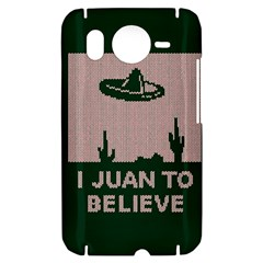I Juan To Believe Ugly Holiday Christmas Green background HTC Desire HD Hardshell Case