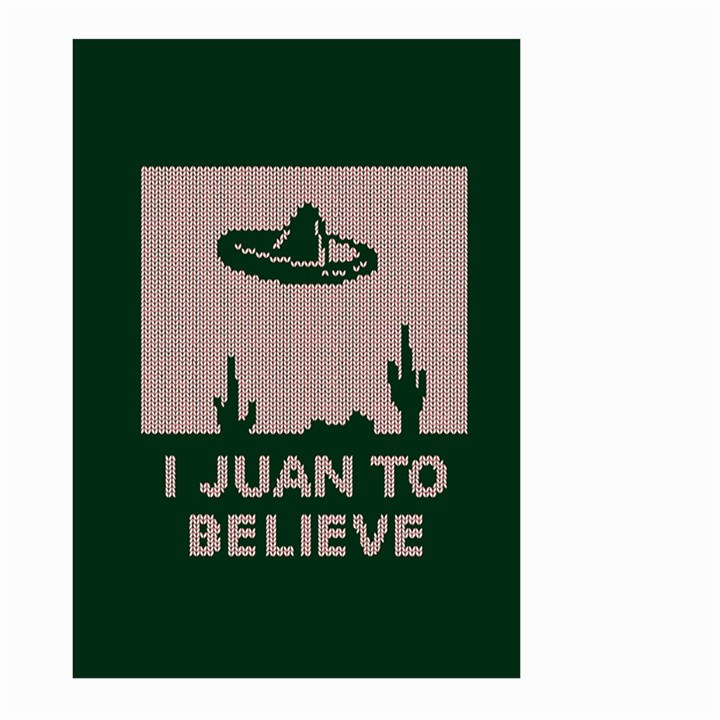 I Juan To Believe Ugly Holiday Christmas Green background Large Garden Flag (Two Sides)