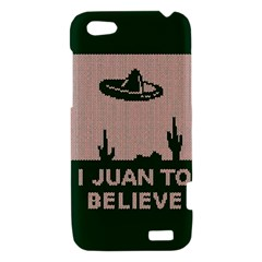 I Juan To Believe Ugly Holiday Christmas Green background HTC One V Hardshell Case