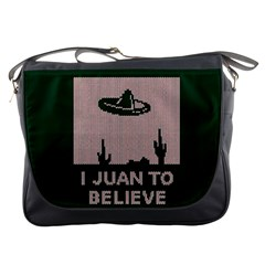 I Juan To Believe Ugly Holiday Christmas Green background Messenger Bags