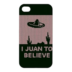 I Juan To Believe Ugly Holiday Christmas Green background Apple iPhone 4/4S Premium Hardshell Case