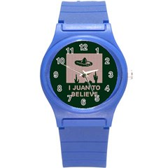 I Juan To Believe Ugly Holiday Christmas Green background Round Plastic Sport Watch (S)