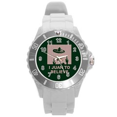 I Juan To Believe Ugly Holiday Christmas Green background Round Plastic Sport Watch (L)