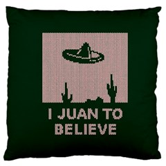 I Juan To Believe Ugly Holiday Christmas Green background Large Cushion Case (Two Sides)
