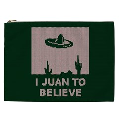 I Juan To Believe Ugly Holiday Christmas Green background Cosmetic Bag (XXL)