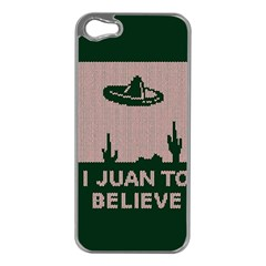 I Juan To Believe Ugly Holiday Christmas Green background Apple iPhone 5 Case (Silver)