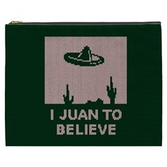 I Juan To Believe Ugly Holiday Christmas Green background Cosmetic Bag (XXXL)