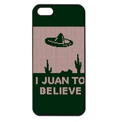 I Juan To Believe Ugly Holiday Christmas Green background Apple iPhone 5 Seamless Case (Black)