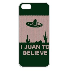 I Juan To Believe Ugly Holiday Christmas Green background Apple iPhone 5 Seamless Case (White)
