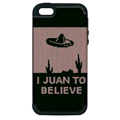 I Juan To Believe Ugly Holiday Christmas Green background Apple iPhone 5 Hardshell Case (PC+Silicone)