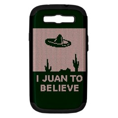 I Juan To Believe Ugly Holiday Christmas Green background Samsung Galaxy S III Hardshell Case (PC+Silicone)