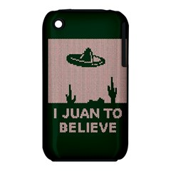 I Juan To Believe Ugly Holiday Christmas Green background Apple iPhone 3G/3GS Hardshell Case (PC+Silicone)