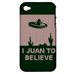I Juan To Believe Ugly Holiday Christmas Green background Apple iPhone 4/4S Hardshell Case (PC+Silicone)