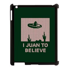 I Juan To Believe Ugly Holiday Christmas Green background Apple iPad 3/4 Case (Black)